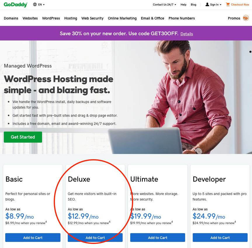 GoDaddy WordPress Deluxe plan