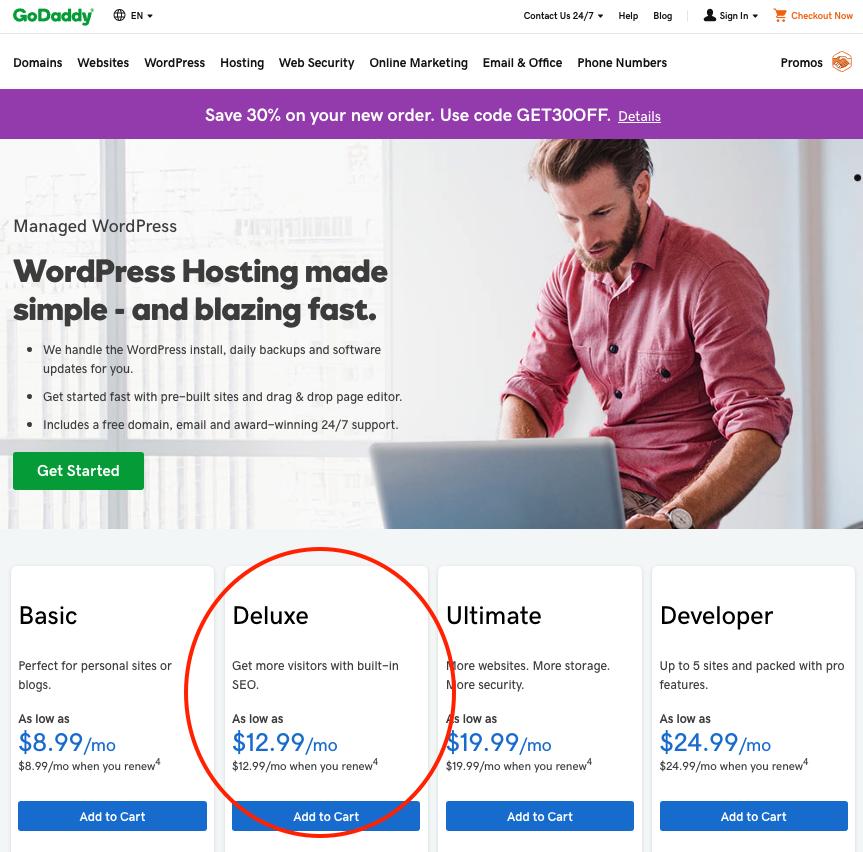 GoDaddy WordPress Deluxe plan